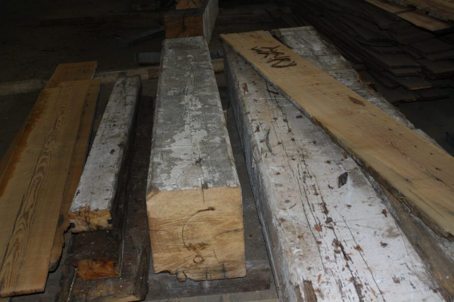 Heart Pine Beams Ready to be Reclaimed