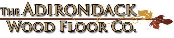 The Adirondack Wood Floor Co in gold surrounded by leaves